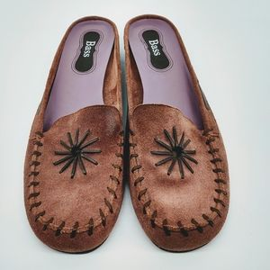 Bass Purple Leather Loafer Mules